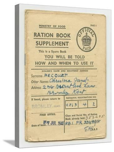 Ration Book for Christina Hecquet, Bromley, Kent, 1941--Stretched Canvas Print