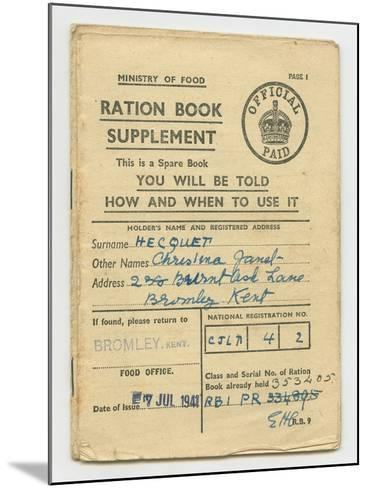 Ration Book for Christina Hecquet, Bromley, Kent, 1941--Mounted Giclee Print