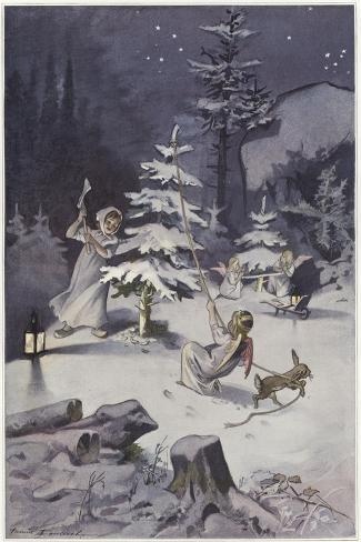 A Cherub Wields an Axe as They Chop Down a Christmas Tree--Stretched Canvas Print