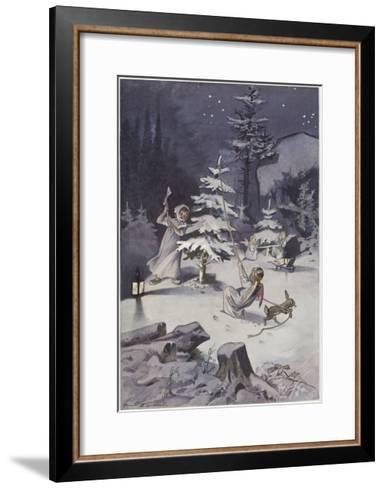 A Cherub Wields an Axe as They Chop Down a Christmas Tree--Framed Art Print