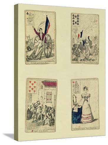 Four Playing Cards Commemorating the Heroes of July 1830, 1831--Stretched Canvas Print