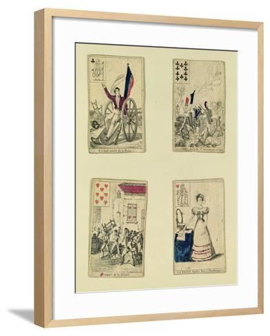 Four Playing Cards Commemorating the Heroes of July 1830, 1831--Framed Art Print