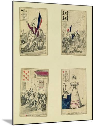 Four Playing Cards Commemorating the Heroes of July 1830, 1831--Mounted Giclee Print