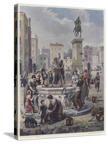 A Group of Women Collecting Water from a Well in Venice--Stretched Canvas Print