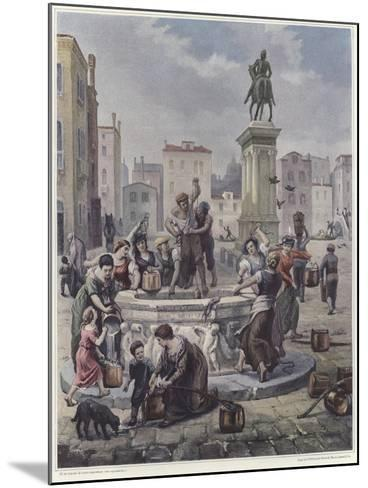 A Group of Women Collecting Water from a Well in Venice--Mounted Giclee Print
