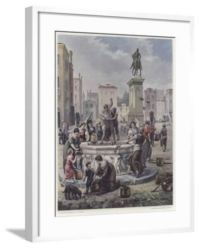 A Group of Women Collecting Water from a Well in Venice--Framed Art Print