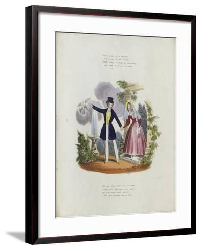 British Valentine Card with an Image of a Man and a Woman Holding Hands--Framed Art Print