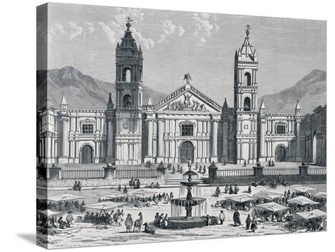 Plaza Mayor and Cathedral of Arequipa, Peru, 1880S--Stretched Canvas Print