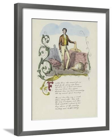 British Valentine Card with an Image of a Man Building a Brick Wall--Framed Art Print