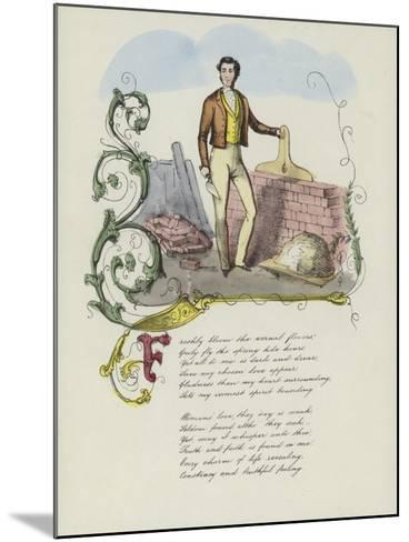 British Valentine Card with an Image of a Man Building a Brick Wall--Mounted Giclee Print