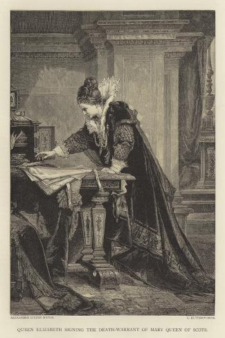 Queen Elizabeth Signing the Death-Warrant of Mary Queen of Scots--Stretched Canvas Print