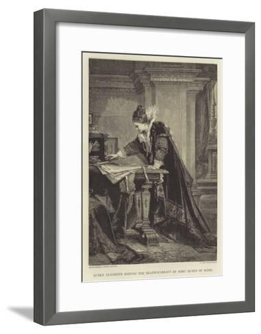 Queen Elizabeth Signing the Death-Warrant of Mary Queen of Scots--Framed Art Print