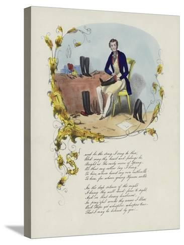 British Valentine Card with an Image of a Man Reparing Boots--Stretched Canvas Print