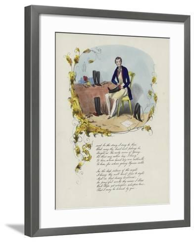 British Valentine Card with an Image of a Man Reparing Boots--Framed Art Print