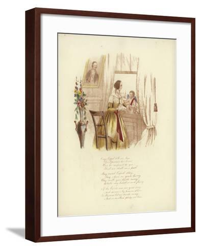 British Valentine Card with an Image of a Woman at a Window with a Cherub--Framed Art Print