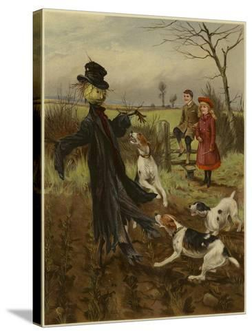 Scarecrow Being Attacked by a Pack of Dogs as a Boy and Girl Watch--Stretched Canvas Print