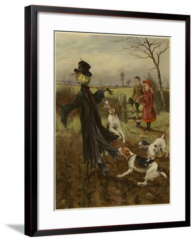Scarecrow Being Attacked by a Pack of Dogs as a Boy and Girl Watch--Framed Art Print