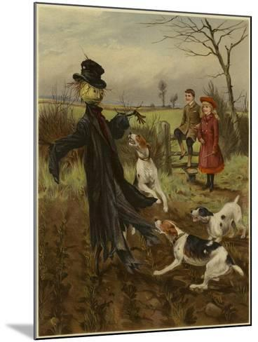 Scarecrow Being Attacked by a Pack of Dogs as a Boy and Girl Watch--Mounted Giclee Print