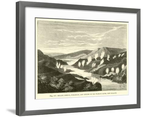 Boiling Springs, Fumaroles, and Geysers on the Waikato River, New Zealand--Framed Art Print