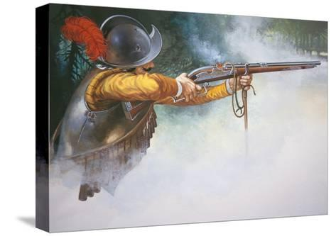 Musketeer of the Early 17th Century Firing a Matchlock Musket--Stretched Canvas Print