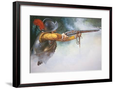 Musketeer of the Early 17th Century Firing a Matchlock Musket--Framed Art Print