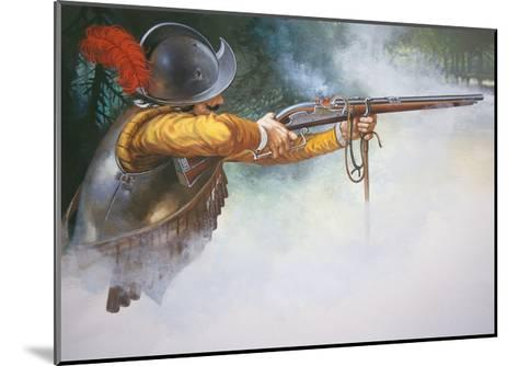 Musketeer of the Early 17th Century Firing a Matchlock Musket--Mounted Giclee Print