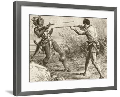 The Indian Chief Paugus Is Killed by an English Militiaman--Framed Art Print