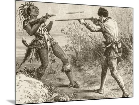 The Indian Chief Paugus Is Killed by an English Militiaman--Mounted Giclee Print