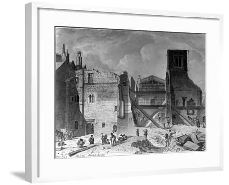 Demolition of the Savoy Palace, Westminster, London, 1820--Framed Art Print