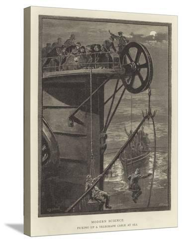Modern Science, Picking Up a Telegraph Cable at Sea--Stretched Canvas Print