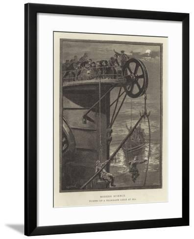 Modern Science, Picking Up a Telegraph Cable at Sea--Framed Art Print