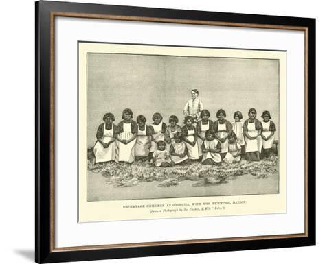 Orphanage Children at Ooshooia, with Mrs Hemmings, Matron--Framed Art Print