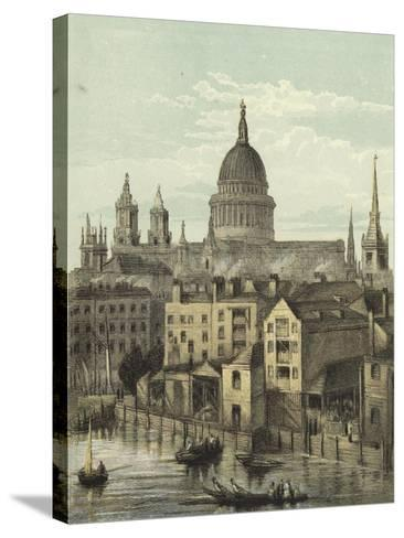 St Paul's Cathedral, View of the Southern Front from Southwark Bridge--Stretched Canvas Print