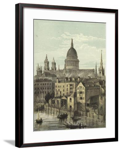 St Paul's Cathedral, View of the Southern Front from Southwark Bridge--Framed Art Print