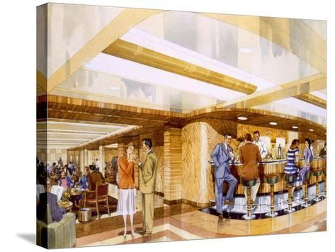 Cocktails Aboard the RMS Caronia, from a Promotional Brochure, 1947--Stretched Canvas Print