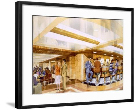 Cocktails Aboard the RMS Caronia, from a Promotional Brochure, 1947--Framed Art Print