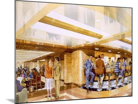 Cocktails Aboard the RMS Caronia, from a Promotional Brochure, 1947--Mounted Giclee Print