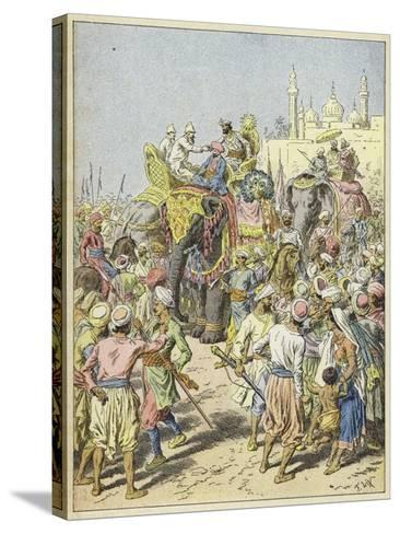 European Travellers Being Received by a Raja, India--Stretched Canvas Print