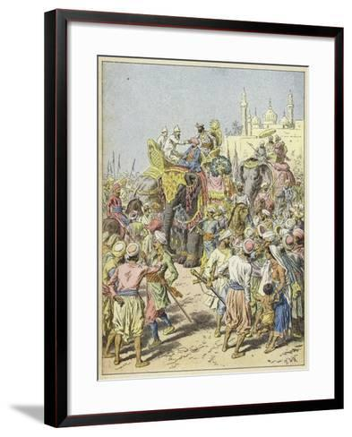 European Travellers Being Received by a Raja, India--Framed Art Print