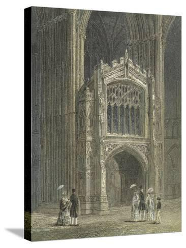 Peterborough Cathedral, View of the Porch, West End--Stretched Canvas Print