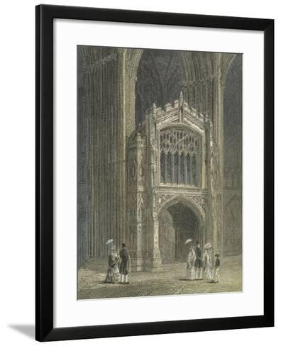 Peterborough Cathedral, View of the Porch, West End--Framed Art Print