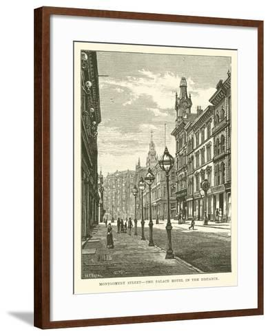Montgomery Street, the Palace Hotel in the Distance--Framed Art Print