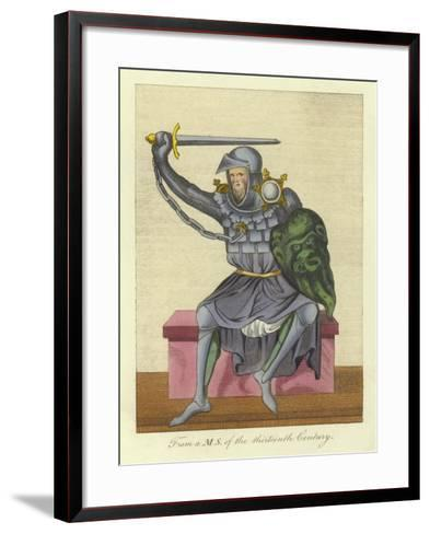 Knight, Possibly King, in Armour, from a Manuscript of the 13th Century--Framed Art Print