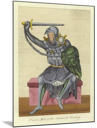 Knight, Possibly King, in Armour, from a Manuscript of the 13th Century--Mounted Giclee Print