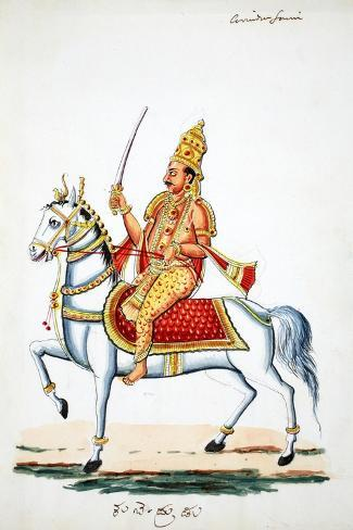 Lord Kalki on His Horse Devadatta with Sword in Hand--Stretched Canvas Print