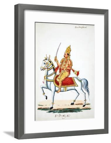 Lord Kalki on His Horse Devadatta with Sword in Hand--Framed Art Print
