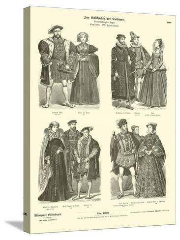 Costumes of English and Scottish Royalty and Nobility, 16th Century--Stretched Canvas Print