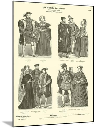 Costumes of English and Scottish Royalty and Nobility, 16th Century--Mounted Giclee Print