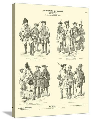 German and Austrian Military Uniforms, 18th Century--Stretched Canvas Print