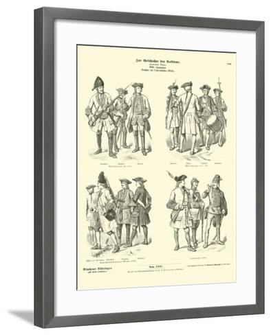 German and Austrian Military Uniforms, 18th Century--Framed Art Print